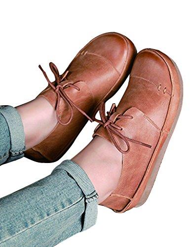 Youlee Mujer Cabeza grande Fondo suave Encaje los zapatos de cuero marrón