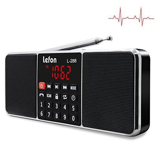 LEFON Multifunction AM FM Radio Bluetooth Wireless Speaker MP3 Music Player Support TF Card / USB Disk, LED Screen Display, Setting Timing Shutdown Function ( Black-Upgraded Version )