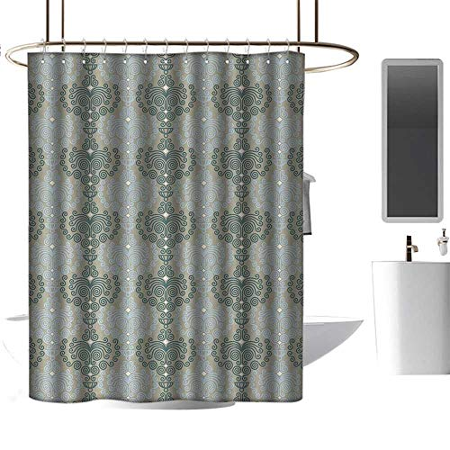 - Qenuan Shower Curtain Liner Resistant Floral,Abstract Art Damask Desgin Floral Ornament Background Wallpaper Pattern Print,Blue and Taupe,Hand Drawing Effect Fabric Shower Curtains 54