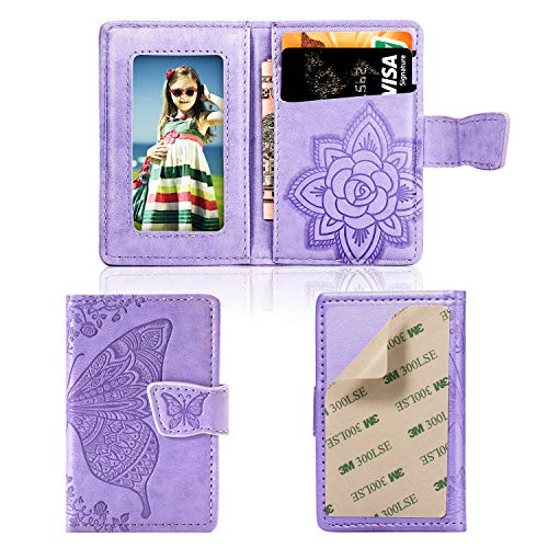 Card Credit Butterfly - Cmeka Cell Phone Wallet,Credit Card Holder for Back of Phone Pocket 3M Adhesive Sticker Card Pouch Sleeve for iPhone/Samsung Galaxy/Sony/Android and Most Smartphones (Purple-Butterfly)