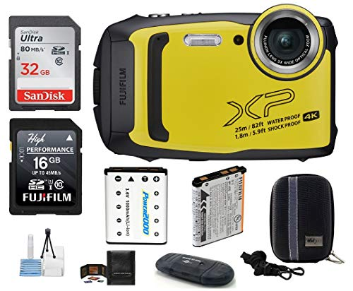 FUJIFILM FinePix XP140 Water, Shock, Freeze, and Dustproof Digital Camera (Yellow) Bundle; Includes: 32GB & 16GB SDHC Memory Cards + Spare Battery + Camera Case + Card Reader + More
