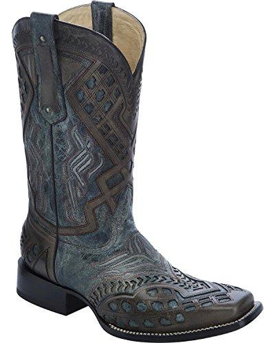 Corral Mens Overlay Cowboy Boot Bout Carré - G1273 Noir