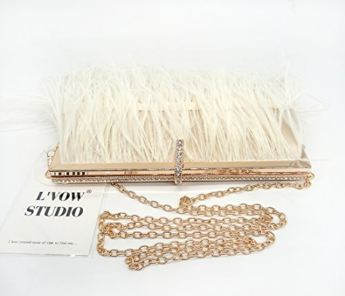 bag Ostrich Party Bridal for Clutch White Handbag Evening L'vow Wedding Shoulder Feather Women' g5wRfq8