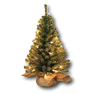 Gerson Pre-lit Artificial 18 Inch Pine Tree Burlap Sack Base Tabletop Christmas Tree 81