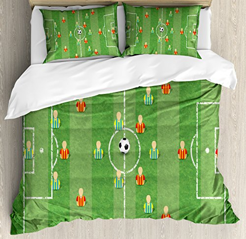 Ambesonne Soccer Duvet Cover Set Queen Size, Soccer Formation Tactic Illustration Goalkeeper Strikers and Defenders Match Pattern, Decorative 3 Piece Bedding Set with 2 Pillow Shams, Multicolor by Ambesonne