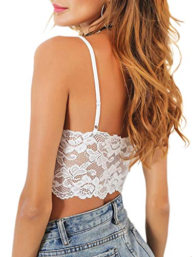 SheIn Women's Sexy Strappy Sleeveless Button Front Crop Cami Tank Tops Small Lace-White