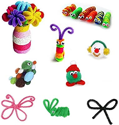 Pipe Cleaners Craft Set Meiso 500 Pcs Craft Supplies Including 100 Pcs Chenille Stems with 250 Pcs Pom Poms Craft and 150 Pcs Wiggle Googly Eyes Self Adhesive Assorted Colors Sizes for DIY Art Craft