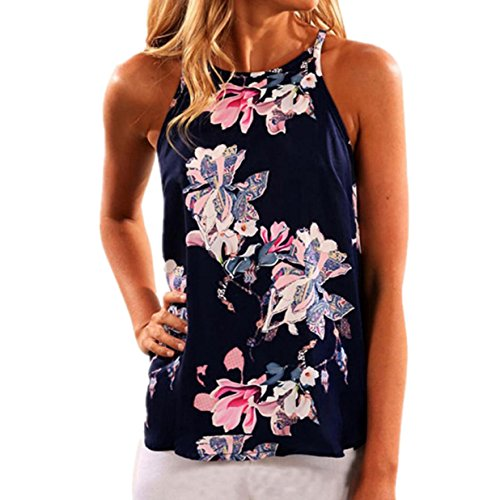 YANG-YI Women Sleeveless Flower Printed Top Casual Blouse Polyester Vest (L) Silk Pleated Plaid