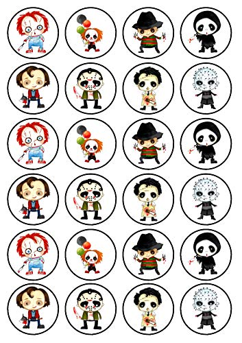 24 Halloween Horror Characters Theme Edible Cupcake Toppers - Stand Up Discs Wafer Cake Decorations