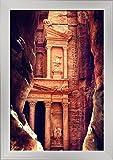 Petra, Jordan - The Treasury (Al-Khazneh) - Archaeological Site (12x18 Giclee Art Print, Gallery Framed, Silver Wood)