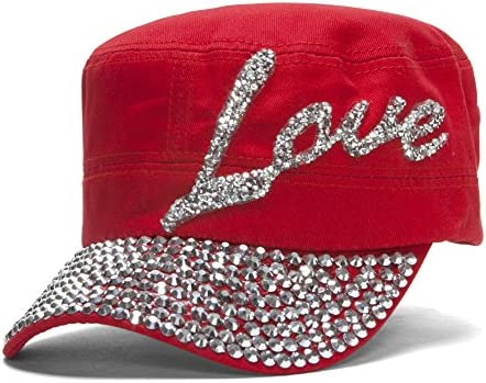 Womens Love Embellished Cadet Cap