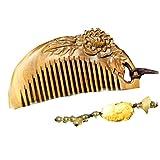 Peony Shape Jade Palo Santo Comb Anti-static Wooden Comb