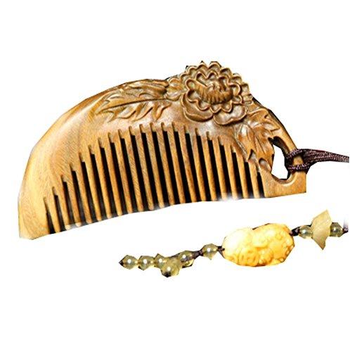 Peony Shape Jade Palo Santo Comb Anti-static Wooden Comb (Shape Peony)