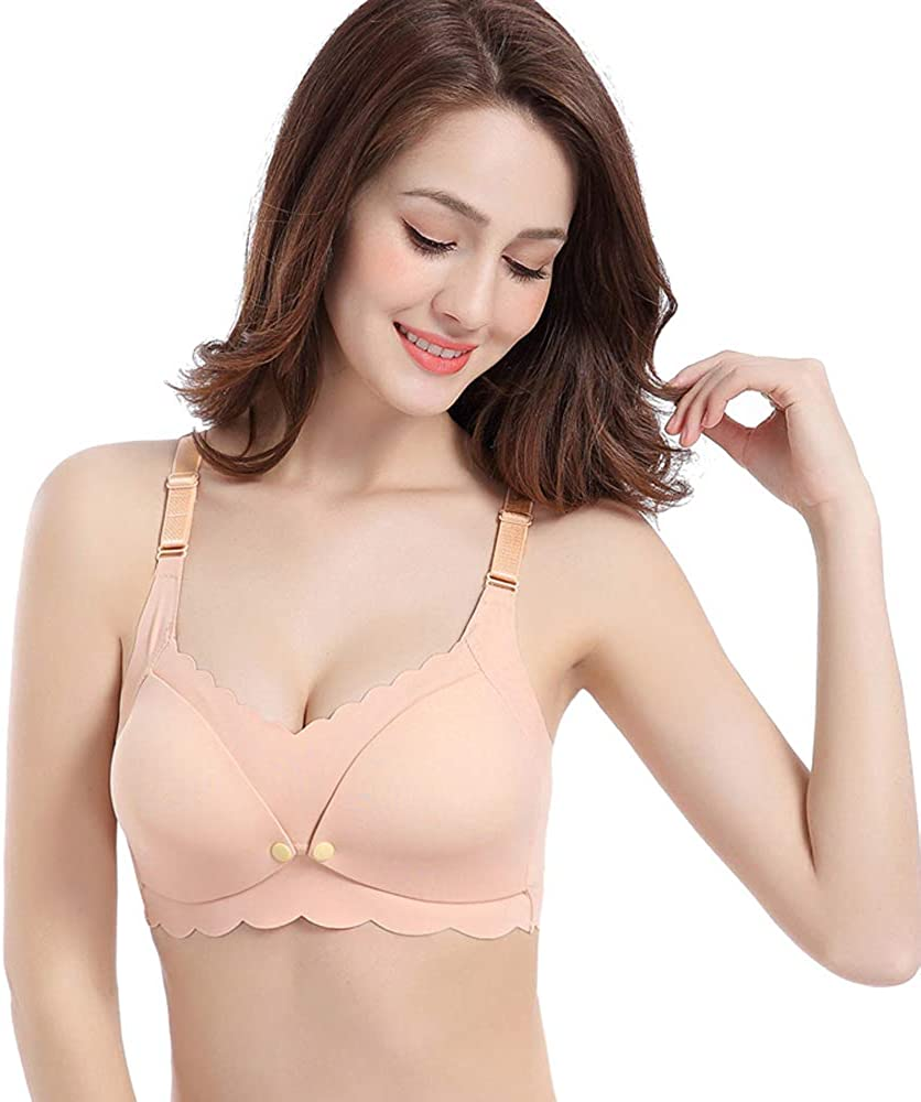 FIYOMET Nursing Bra Pregnant Women Breastfeeding Underwear Feeding Pregnancy Gathered Back Anti Sagging No Steel Ring