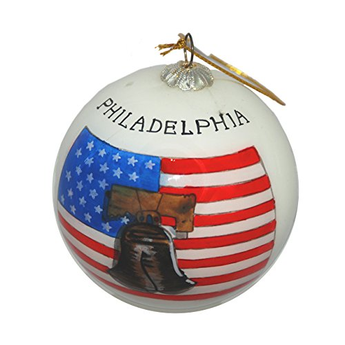 American Flag Christmas Ornament - Hand Painted Glass Christmas Ornament - Philadelphia Liberty Bell and American flag