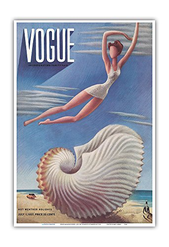 Fashion Magazine - July, 1937 - Surreal Beach Fantasy - Vintage Magazine Cover by Miguel Covarrubias c.1937 - Master Art Print 13in x 19in