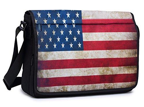 Meffort Inc 15.6 Inch Compact Padded Compartment Multi-Pocket Shoulder Messenger Crossbody Hybrid Traveling Bag - American Flag (Bag American Flag)