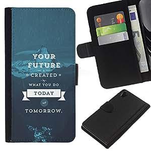 iBinBang / Flip Funda de Cuero Case Cover - SU FUTURO - SABIDURÍA DE VIDA - Sony Xperia Z2 D6502