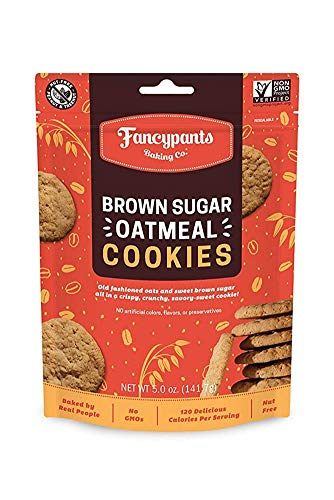 Fancypants Baking Co. Nut Free Cookies   Buttery Delicious & Crunchy Brown Sugar Oatmeal   Non-GMO Bagged Cookies 4 pack (5oz)
