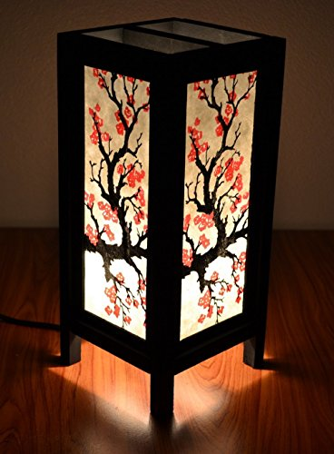 Decorative Lamp Thai Vintage Handmade Asian Oriental Sakura Bedside Table Light Floor Wood Paper Lamp Shades Home Bedroom Garden Decoration Modern (Chloe's Closet Halloween)