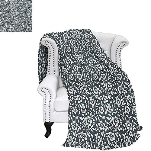 warmfamily Flower Summer Quilt Comforter Floral Silhouette Timeless Climbing Plants Good Old Times Monochrome Artful Digital Printing Blanket 70