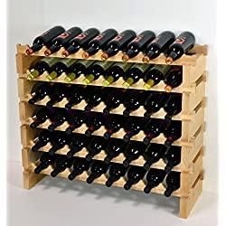 sfDisplay.com,LLC. Modular Wine Rack Beechwood 32-96 Bottle Capacity 8 Bottles Across up to 12 Rows Newest Improved Model (48 Bottles - 6 Rows)