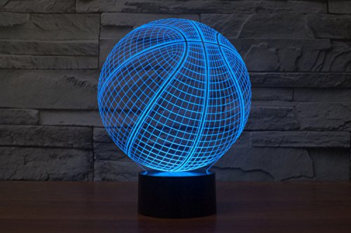 USB Powered 3D Glow LED Night Light 7 Changeable Colors Optical Illusion Lamp Touch Sensor Perfect for Home Party Festival Decor Great Gift Idea (Basketball)