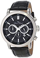 Lucien Piccard Men's 12011-01 Monte Viso Chronograph Black Textured Dial Black Leather Watch by Lucien Piccard