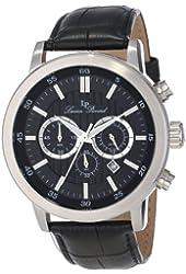 Lucien Piccard Men's 12011-01 Monte Viso Chronograph Black Textured-Dial Black Leather Watch