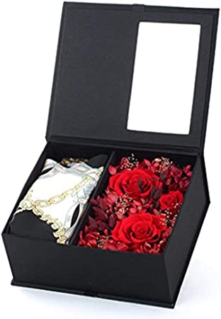 L@LILI Flor eterna Regalo Caja Rosa Flor Flores día de San Valentín Regalos creativos para Enviar Novias Regalo de cumpleaños romántico Negro Caja de Regalo de Cuero: Amazon.es: Hogar