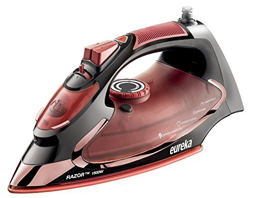 Eureka Razor Powerful Steam Iron Burst, Non-Stick Ceramic SolePlate with 3 Way Auto-Shut Off, and Anti Drip Super Hot 1500 Watt Iron in Marsala Pouch Included … by Eureka