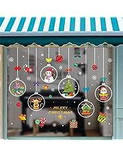 JINLL 4 Vellen Kerstraam Elektrostatische Stickers Kerst Raamdecoratie Sneeuwvlokken Kerst Raamstickers Kerst Raamstickers Herbruikbaar Voor Glas
