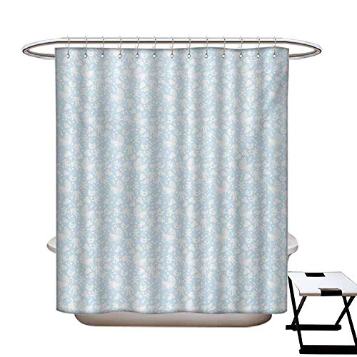 t Shower Curtain Liner Hearts Background with Teddy Bears Strollers Infant Clothes Newborn Child Theme Shower Curtain for Bathroom Pale Blue White72×72