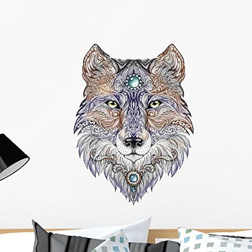 (Wallmonkeys Mandala Tattoo Wolf Wall Decal Peel and Stick Animal Graphics (24 in H x 24 in W) WM266363)