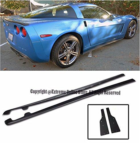 ZR1 Style ABS Plastic Rocker Panels Side Skirts Splitter Lip Extension W  Mud Flaps For 05 13 Chevrolet Corvette C6 Base Mode