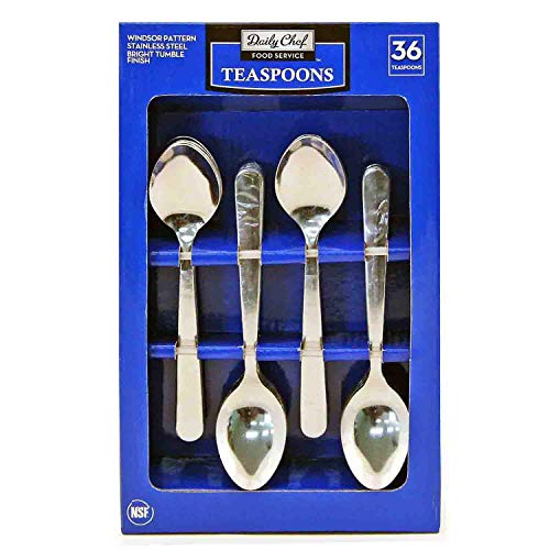 Daily Chef Windsor Pattern Stainless Steel Teaspoons, 36 ct - Pack of 2
