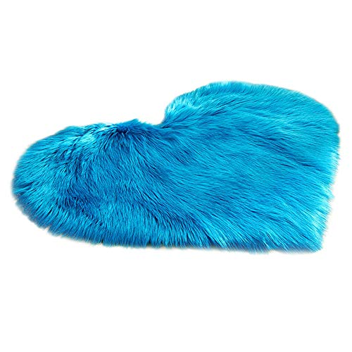 FTXJ Foot Carpet Wool Imitation Sheepskin Rugs Faux Fur Non Slip Bedroom Shaggy Carpet Mats (40 x 50 cm, F) ()