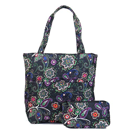 (EGFAS Quilted Cotton Tote Bag with Pouch (Floral Paisley Black Green))