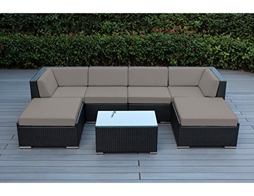 Ohana 7-Piece Outdoor Patio Furniture Sectional Conversation Set, Black Wicker with Sunbrella Taupe Cushions - No Assembly with Free Patio -