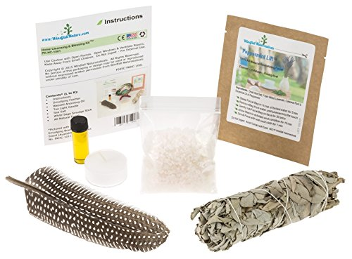 Home Cleansing & Blessing Kit™ -:- Includes Fresh California White Sage Smudge Stick + Smudging Feather + Blessed Anointing Oil + Tea Light Candle + Coarse Grain Sea Salt by WindfallNature
