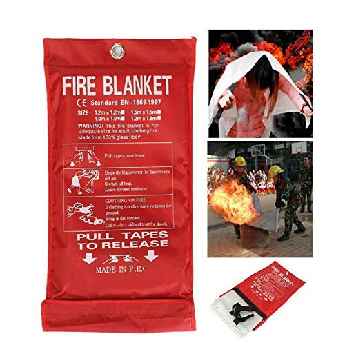 EILIKS Fire Blanket, Fiberglass Fire Shelter for Emergency Survival, Flame Retardant Protection Heat Insulation Safety Cover Ideal for Kitchen, Fireplace, Grill, Car, Camping (39.3''39.3'')