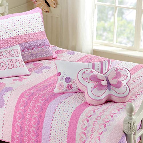 Cozy Line Home Fashions 100% Cotton Lightweight but Warm Pink Butterfly Stripe Hearts Girls Bedding Quilt Set (Pink Butterfly, Twin – 2 Piece)