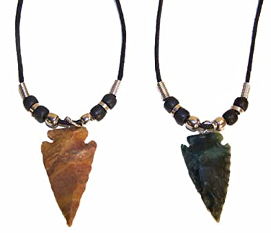 2 real stone arrowhead 18 inch rope necklace w beads amazon 2 real stone arrowhead 18 inch rope necklace w beads aloadofball Image collections