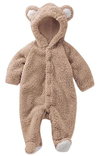 Luckyauction Baby Toddler Winter Cute Bear Fleece Romper, Coffee, XL (12-18 months) -