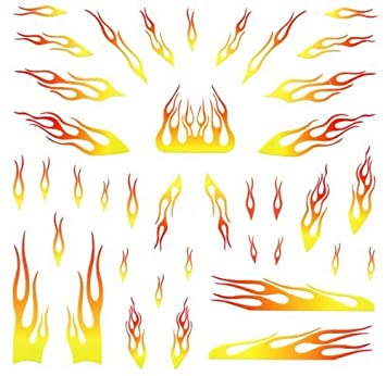 Amazoncom Yellow Flames Pinewood Derby Car Decals Toys Games - Best automobile graphics and patternscompare prices on car graphics flames online shoppingbuy low