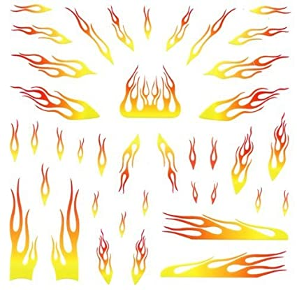 yellow flames pinewood derby car decals