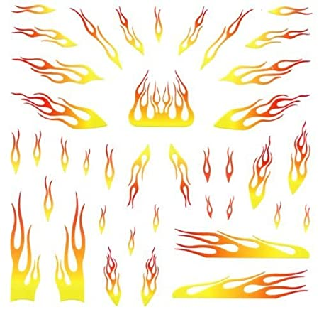 Yellow Flames Pinewood Derby Car Decals Toys Games