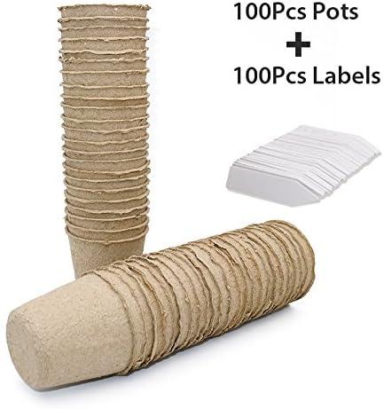 KINGLAKE Macetas de Semillas de Fibra Biodegradable pequeñas ...