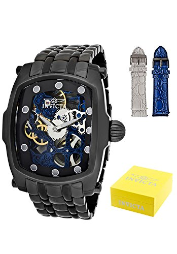 Men's Lupah Stainless Steel Case and Bracelet Blue Tone Skeleton Dial, (Lupah Style Watch)