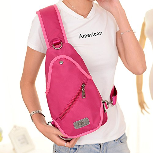 BYD - Nylon Unisex Men Mujeres Chest Mini Bag Cross Body Bag Bolsos bandolera Waterproof Design with Mutil Pockets Rosa